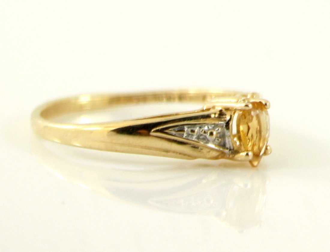 45: 10KT SOLID GOLD PEAR CUT CITRINE PROMISE RING - 3