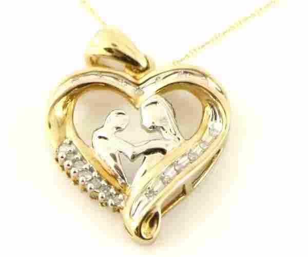10K G 18X21MM HEART .20 CT DIAMOND CHARM NECKLACE