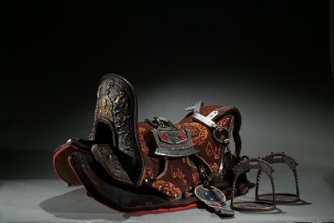 A GILT-SILVER ALLOY 'DRAGONS' HORSE SADDLE