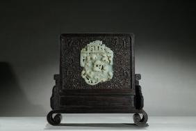 A ZITAN WHITE JADE CHILONG 'BI' INLAID TABLE SCREEN
