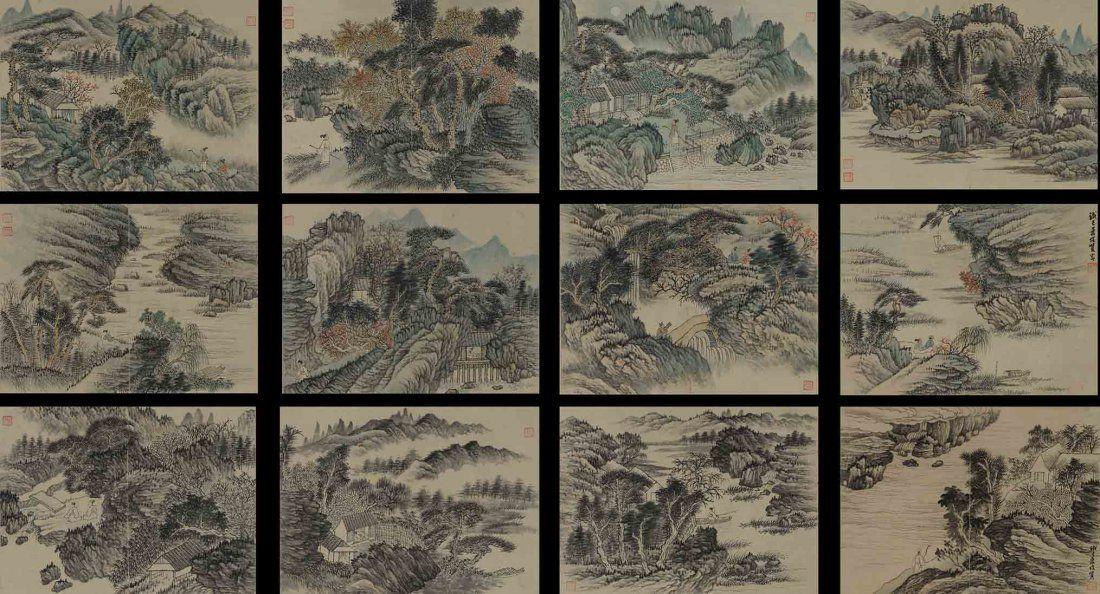 XIAO JUNXIAN: COLOR AND INK ON PAPER LANDSCAPE ALBUM