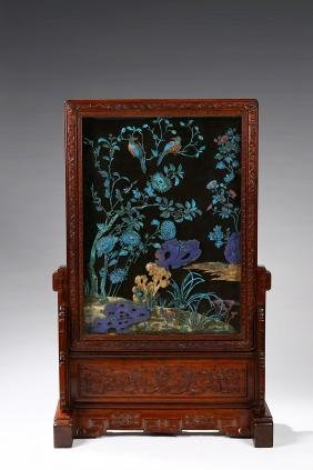 A LARGE IMPERIAL KINGFISHER 'FLOWERS BIRDS' TABLE