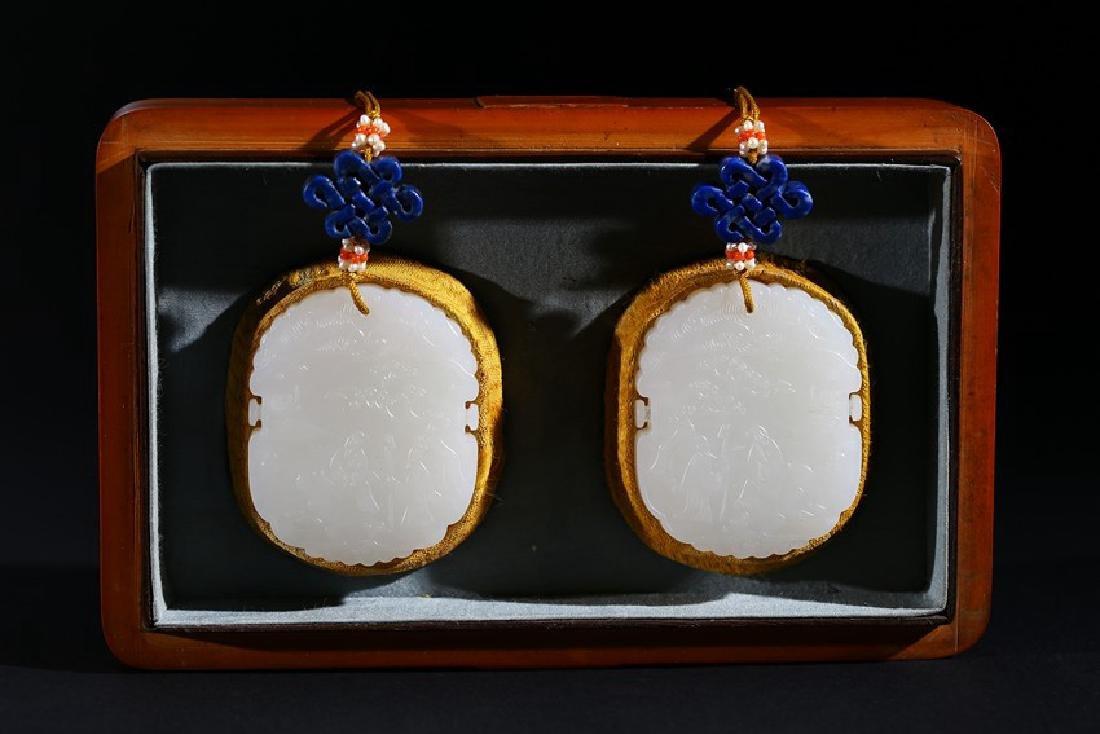 PAIR OF WHITE JADE 'FIGURES POEM' PENDANTS W/BAMBOO BOX