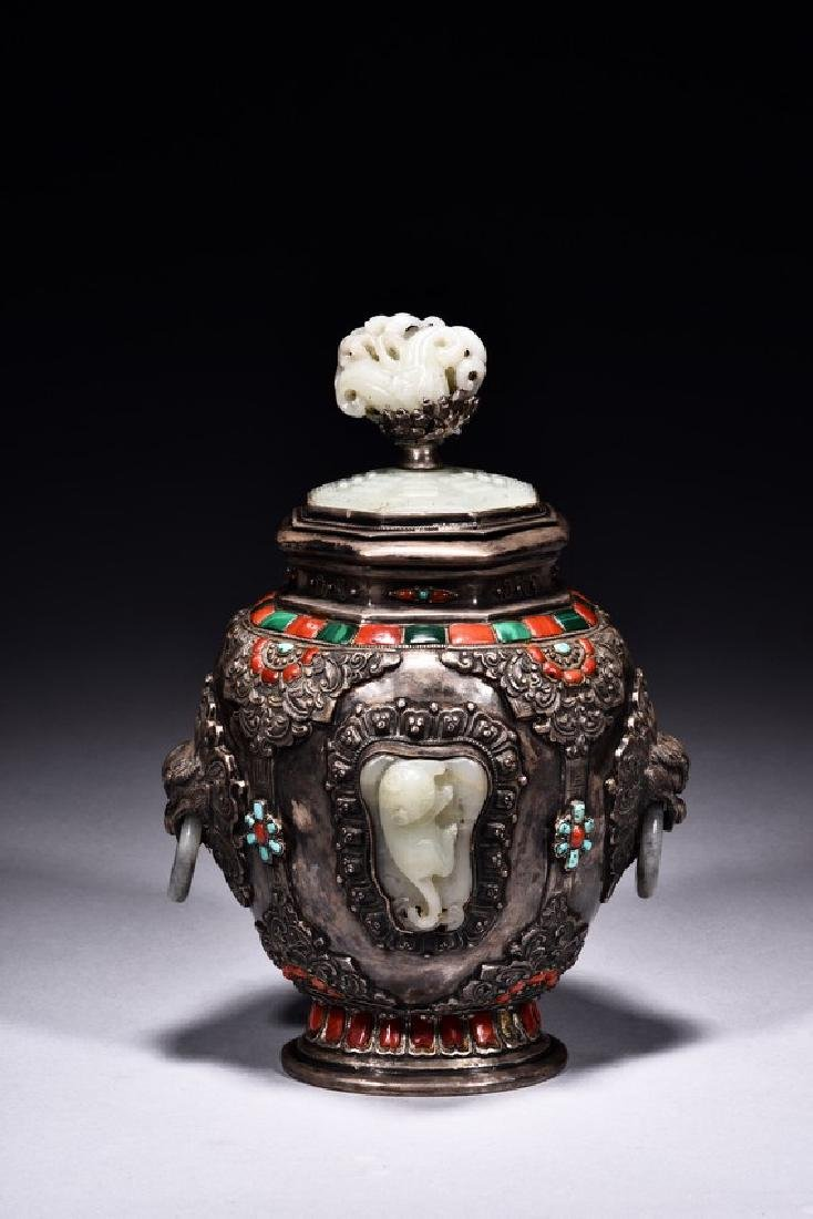 A SILVER WHITE JADE EMBELLISHED JAR AND COVER