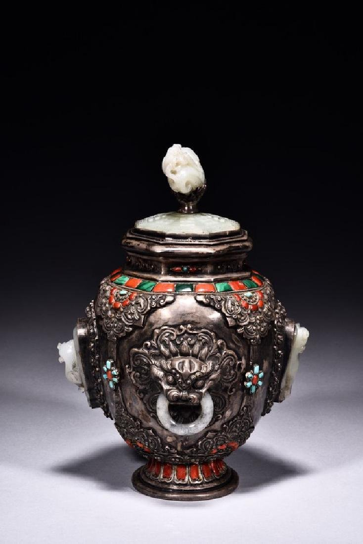 A SILVER WHITE JADE EMBELLISHED JAR AND COVER - 2