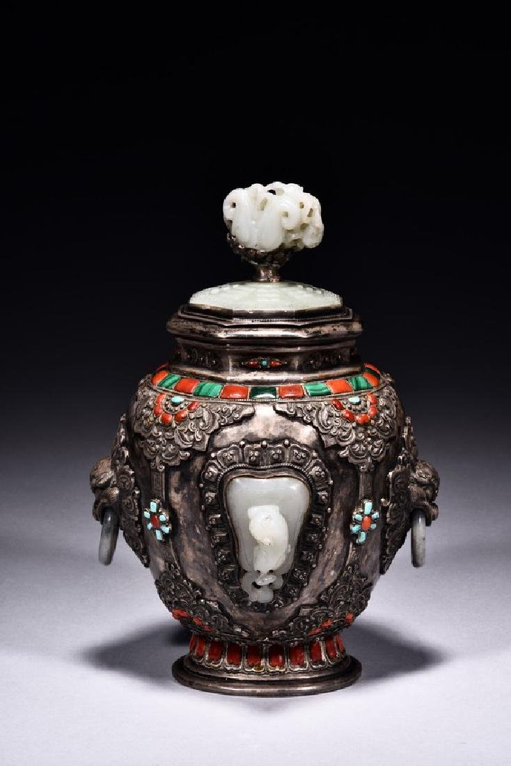 A SILVER WHITE JADE EMBELLISHED JAR AND COVER - 3