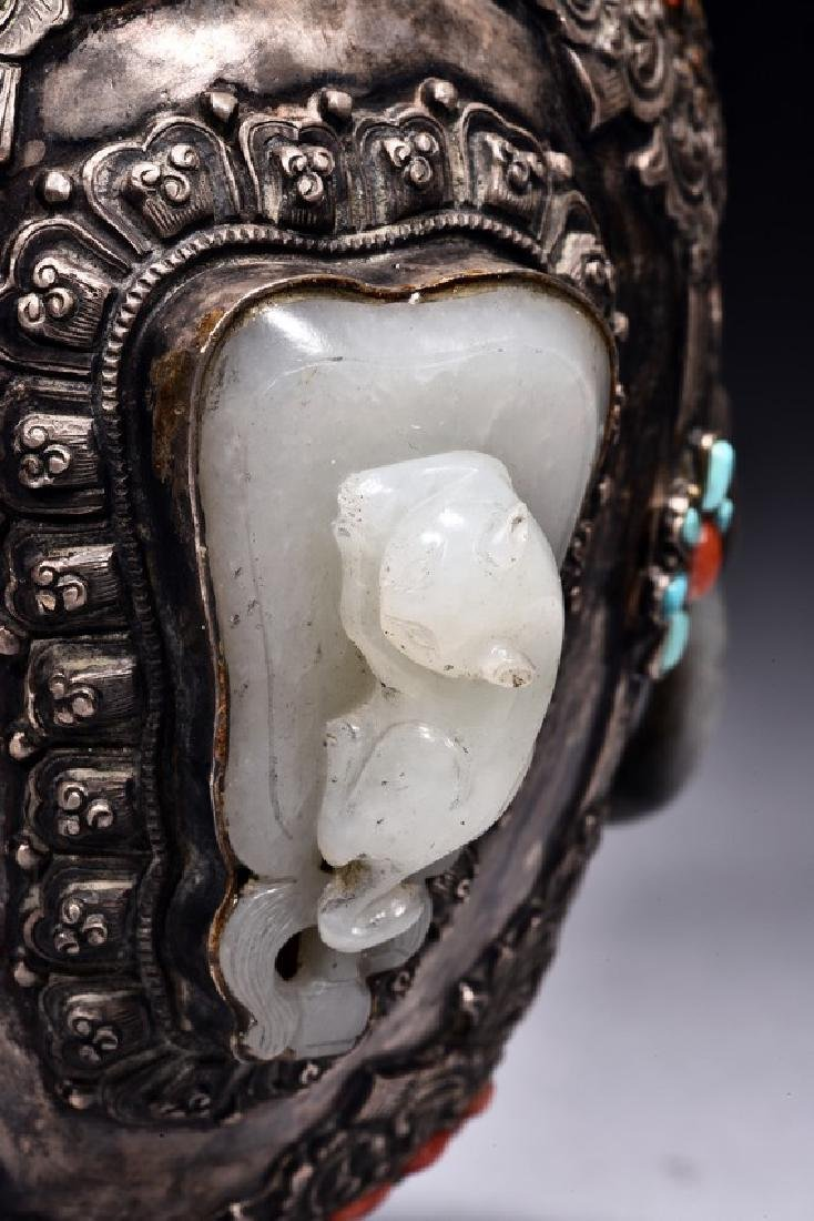 A SILVER WHITE JADE EMBELLISHED JAR AND COVER - 6