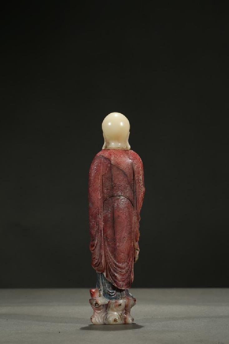 A SOAPSTONE CARVING OF STANDING LUOHAN - 5