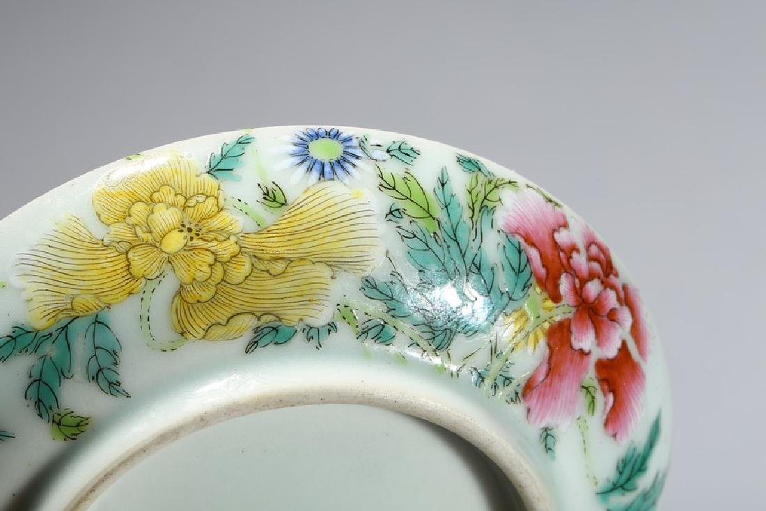 A FAMILLE ROSE 'FLOWERS AND BUTTERFLY' DISH - 4