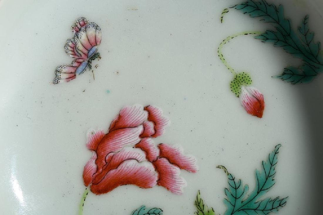 A FAMILLE ROSE 'FLOWERS AND BUTTERFLY' DISH - 6