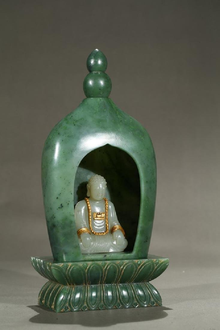 A SPINACH GREEN JADE PAGODA AND WHITE JADE BUDDHA - 3