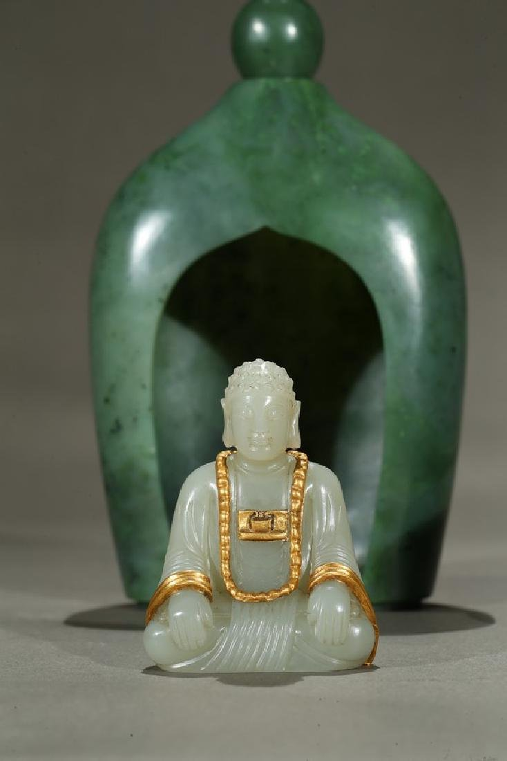 A SPINACH GREEN JADE PAGODA AND WHITE JADE BUDDHA - 7