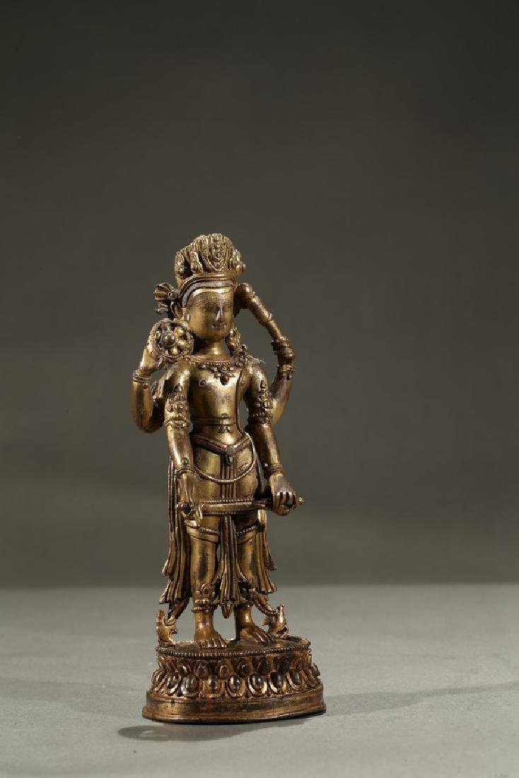 A GILT-BRONZE FIGURE OF STANDING DEITY - 2