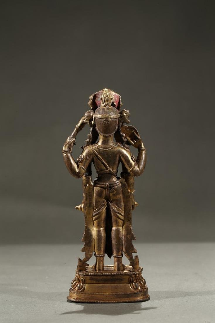 A GILT-BRONZE FIGURE OF STANDING DEITY - 4