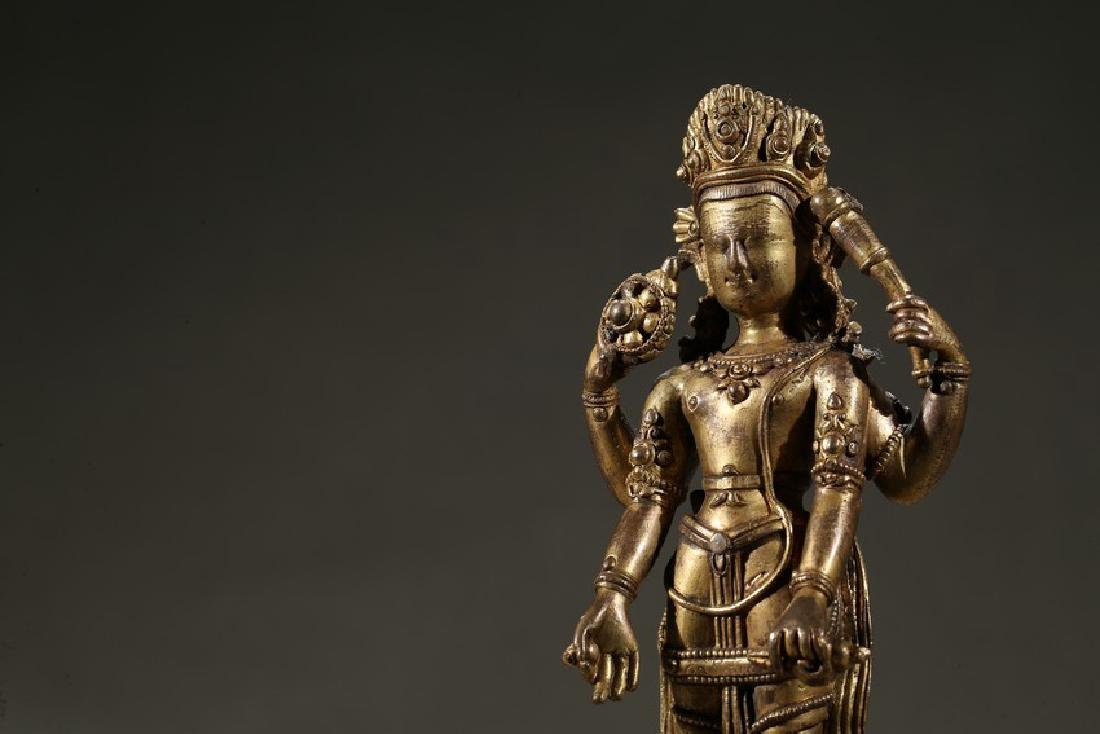 A GILT-BRONZE FIGURE OF STANDING DEITY - 6
