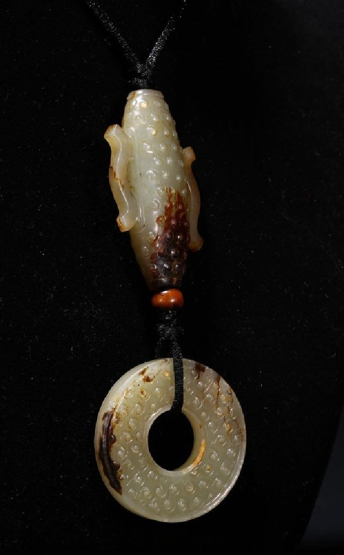 A SET OF ARCHAIC JADE CYLINDER AND DISC PENDANT - 3