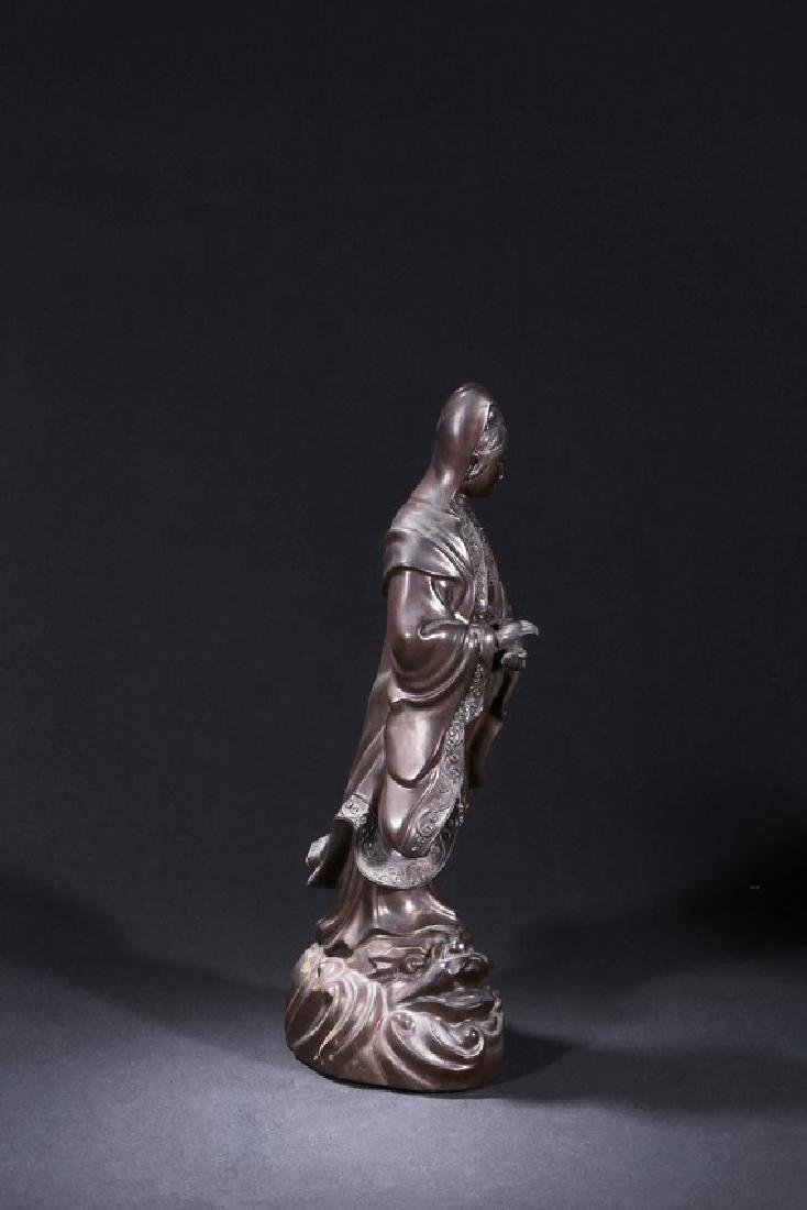 A BLACK DRY LACQUER FIGURE OF STANDING GUANYIN - 3