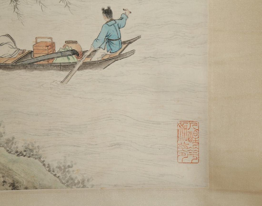 LI QIU-JUN: COLOR AND INK 'SCHOLAR ON BOAT' PAINTING - 7
