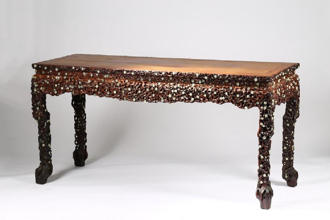 A LARGE CHINESE ROSEWOOD AND WHITE JADE INLAID TABLE