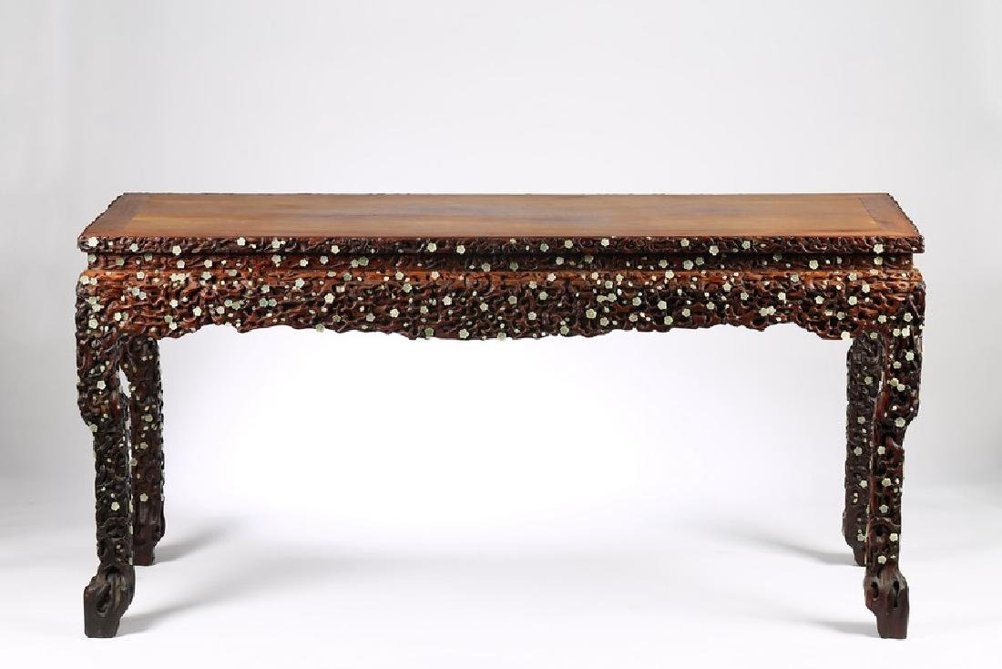A LARGE CHINESE ROSEWOOD AND WHITE JADE INLAID TABLE - 2