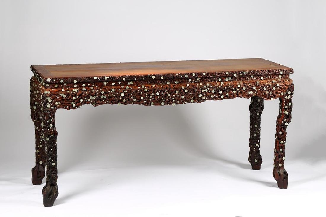A LARGE CHINESE ROSEWOOD AND WHITE JADE INLAID TABLE - 3