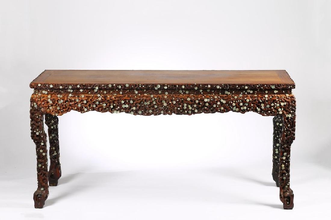 A LARGE CHINESE ROSEWOOD AND WHITE JADE INLAID TABLE - 4