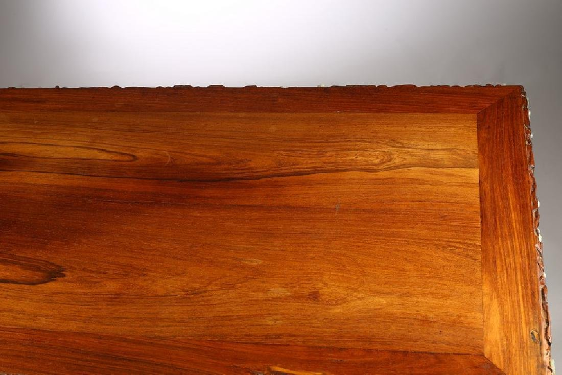 A LARGE CHINESE ROSEWOOD AND WHITE JADE INLAID TABLE - 7