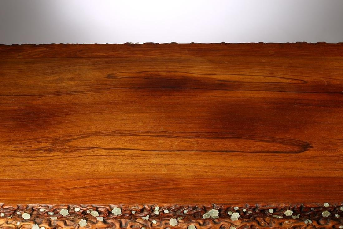 A LARGE CHINESE ROSEWOOD AND WHITE JADE INLAID TABLE - 8