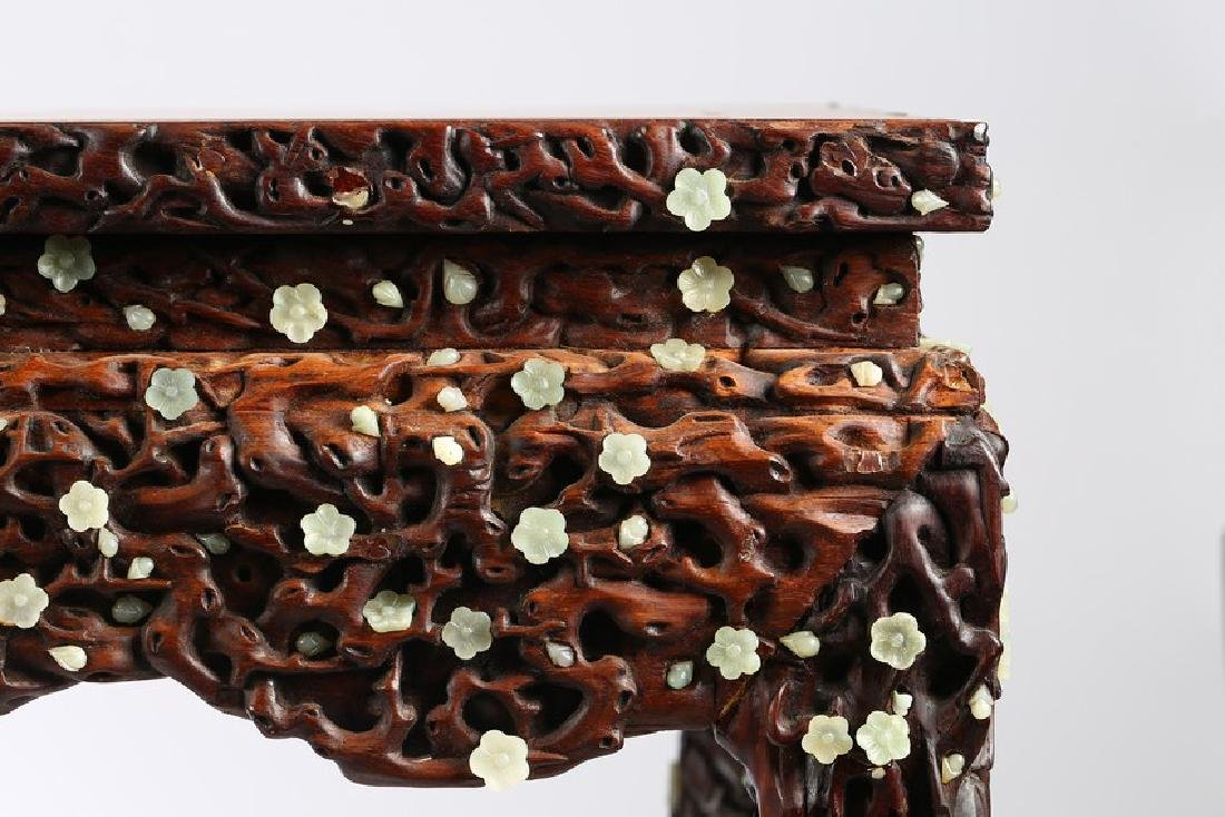 A LARGE CHINESE ROSEWOOD AND WHITE JADE INLAID TABLE - 9
