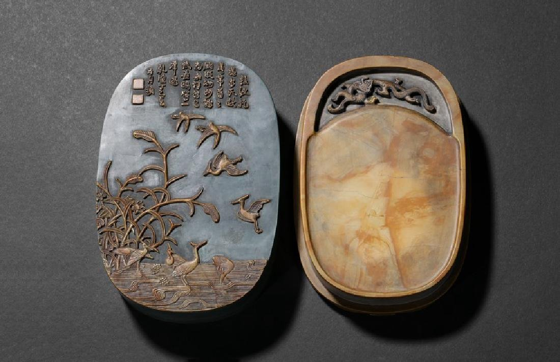 A CARVED 'CHILONG' INKSTONE WITH INSCRIBED COVER
