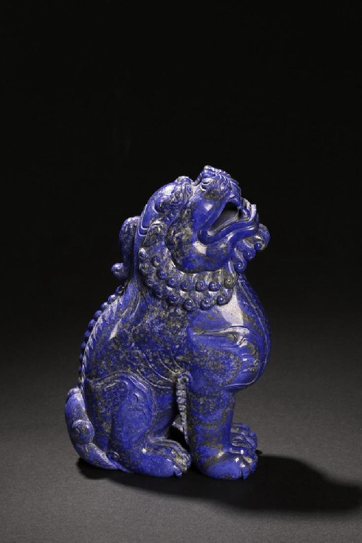 A LAPIS LAZULI CARVING OF MYTHICAL BEAST