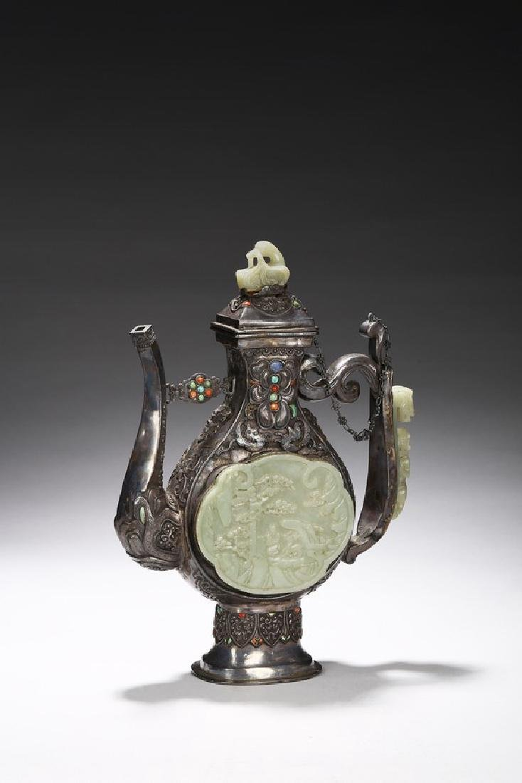A MONGOLIAN JADE AND GEMS-INLAID SILVER EWER
