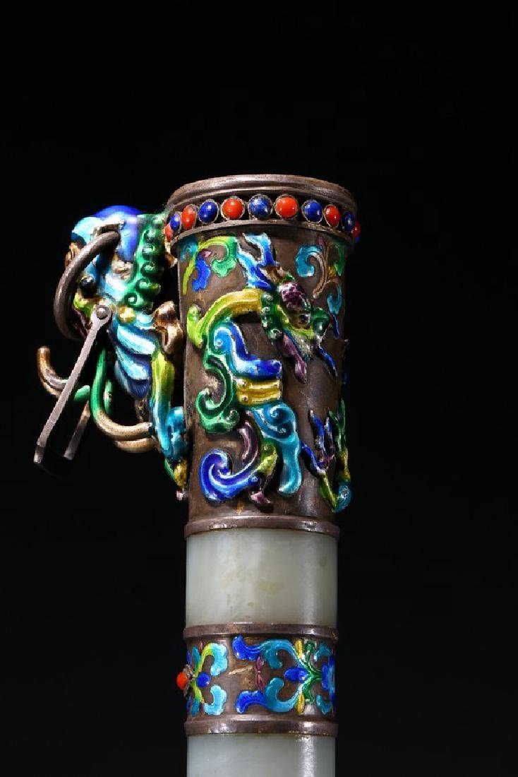 A SILVER AND ENAMELED JADE INSET SWORD - 8