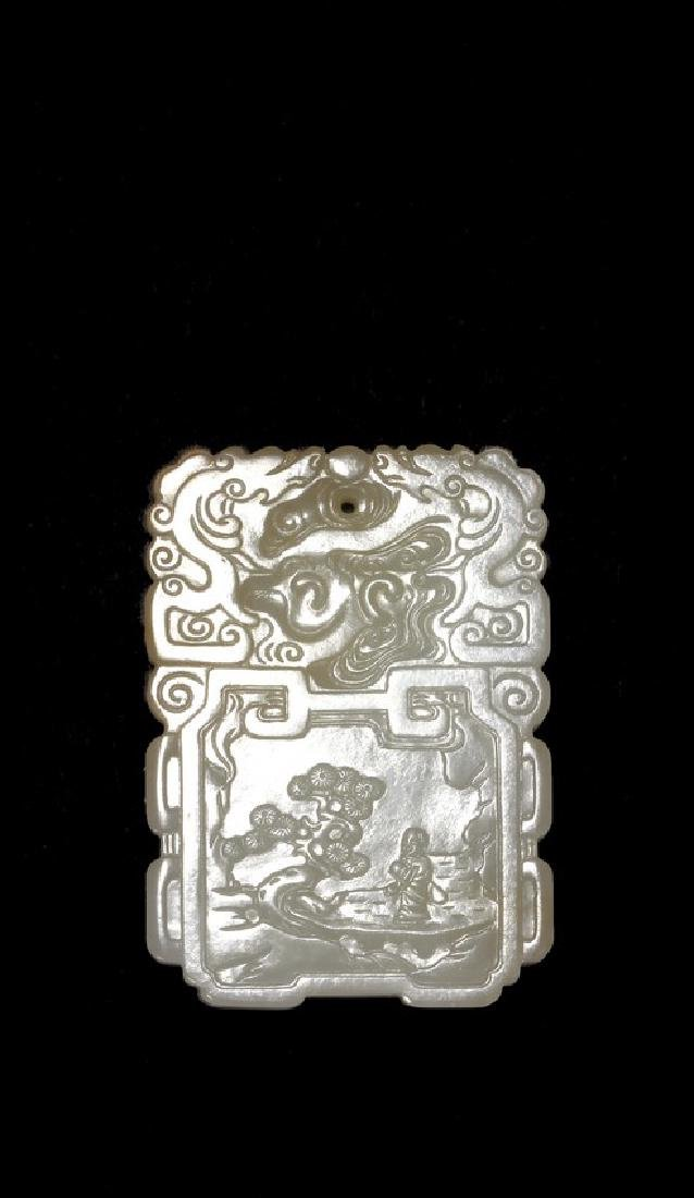 WHITE JADE 'LITERATI WITH GUQIN' RECTANGULAR PENDANT