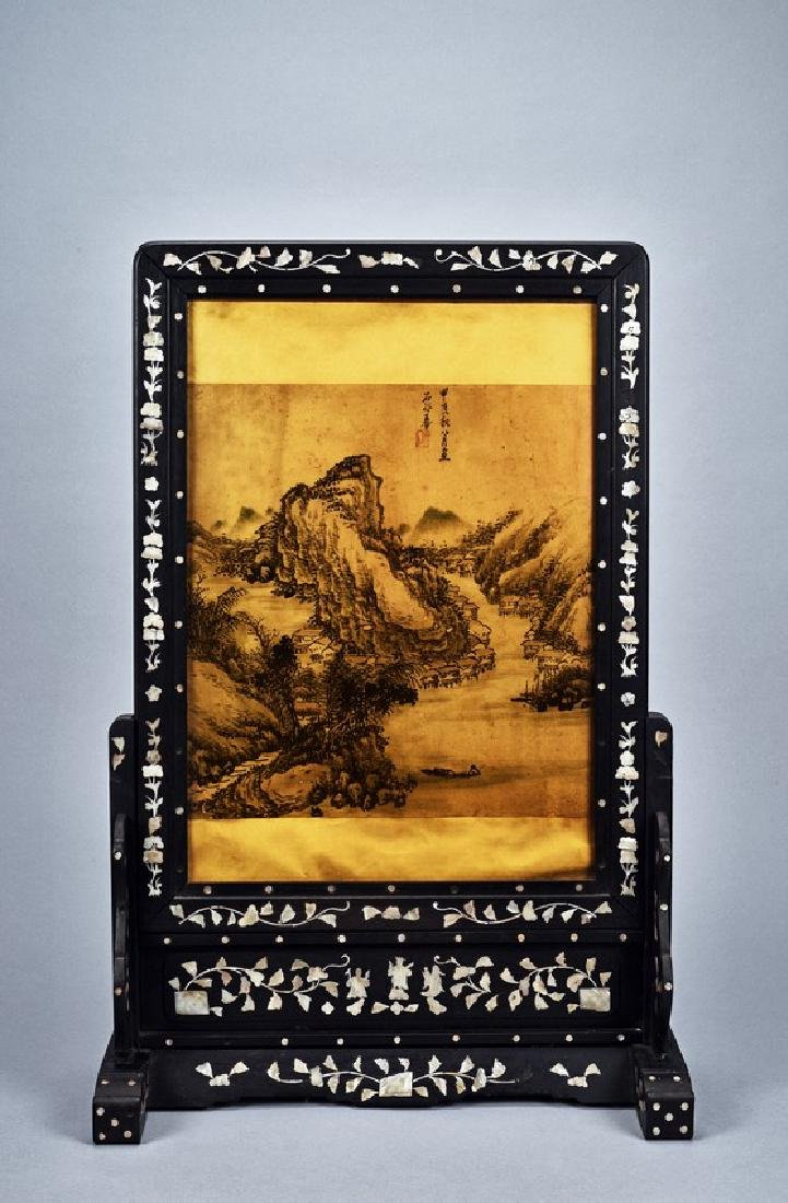 A PAINTING INLAID HONGMU MOTHER-OF-PEARL TABLE SCREEN