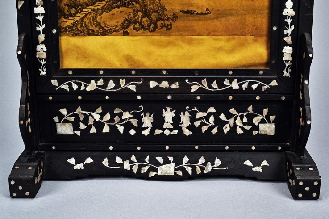 A PAINTING INLAID HONGMU MOTHER-OF-PEARL TABLE SCREEN - 5
