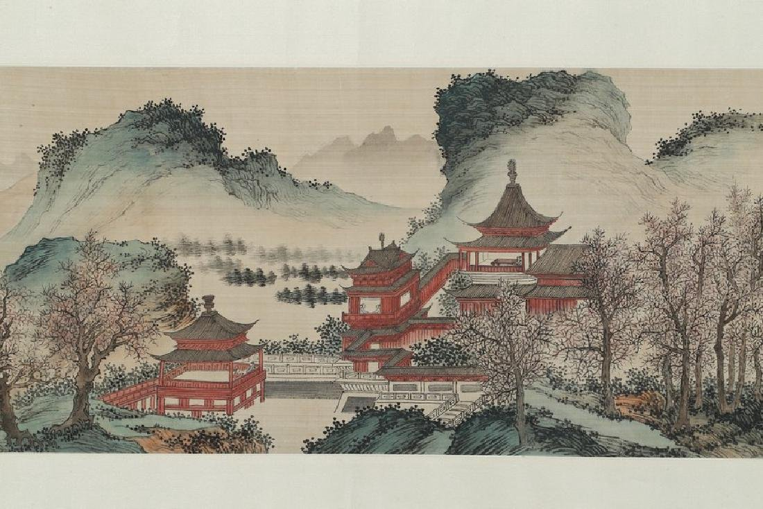 PU RU: COLOR AND INK ON SILK 'PAVILION TERRACE' - 4