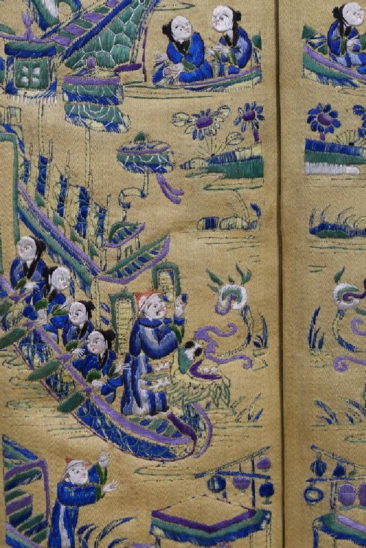 A PAIR OF EMBROIDERED 'FIGURES' SILK COVERS - 5