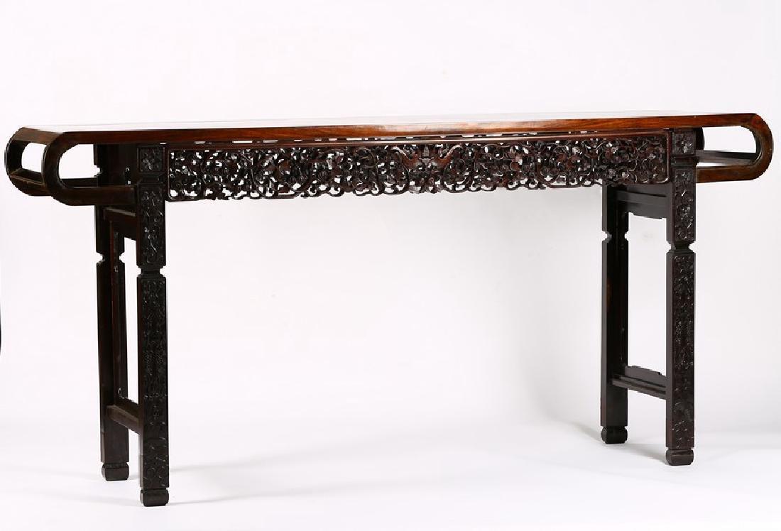 A MASSIVE HONGMU ROSEWOOD 'LOTUS' ALTAR TABLE