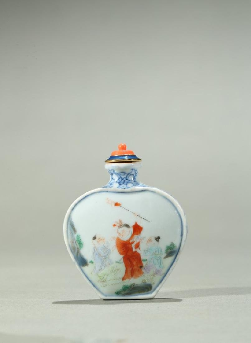A BLUE AND WHITE FAMILLE ROSE 'BOYS' SNUFF BOTTLE