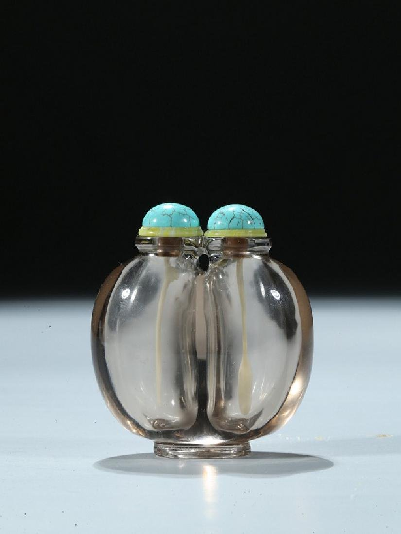 A CHINESE SMOKY ROCK CRYSTAL JOINED SNUFF BOTTLE