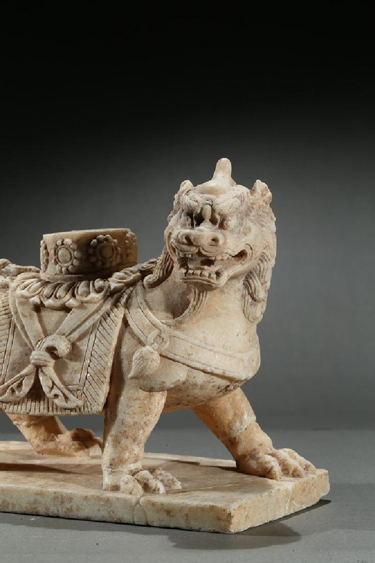 A CHINESE MARBLE CARVED FIGURE OF LION - 4