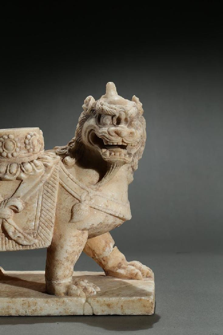A CHINESE MARBLE CARVED FIGURE OF LION - 7