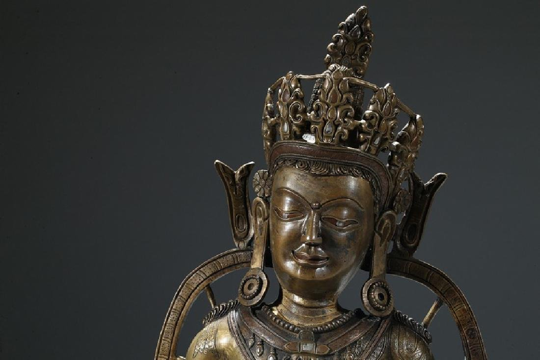 A COPPER AND SILVER INLAID COPPER ALLOY FIGURE OF - 2
