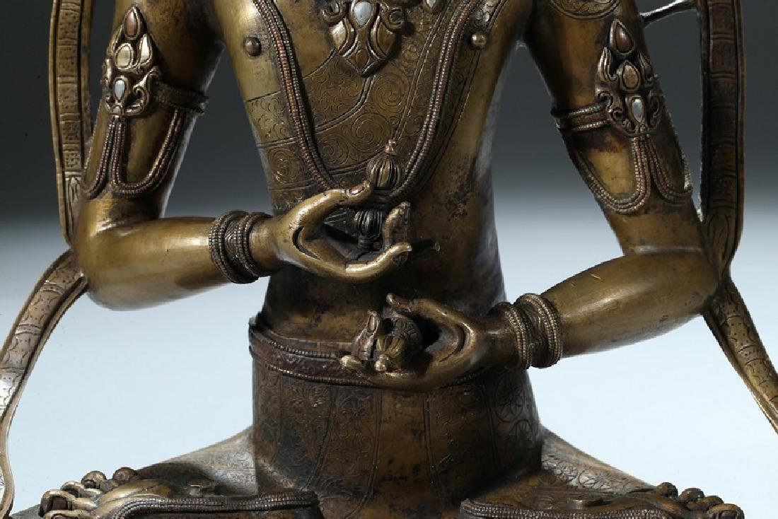 A COPPER AND SILVER INLAID COPPER ALLOY FIGURE OF - 3