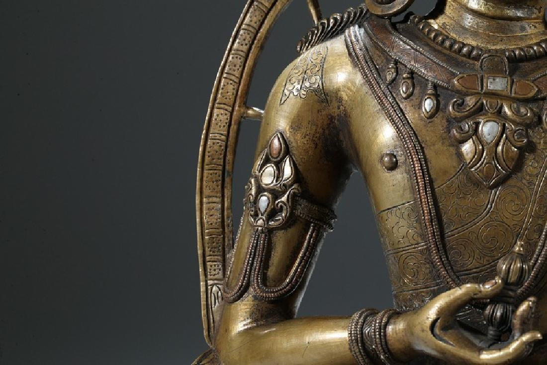 A COPPER AND SILVER INLAID COPPER ALLOY FIGURE OF - 5