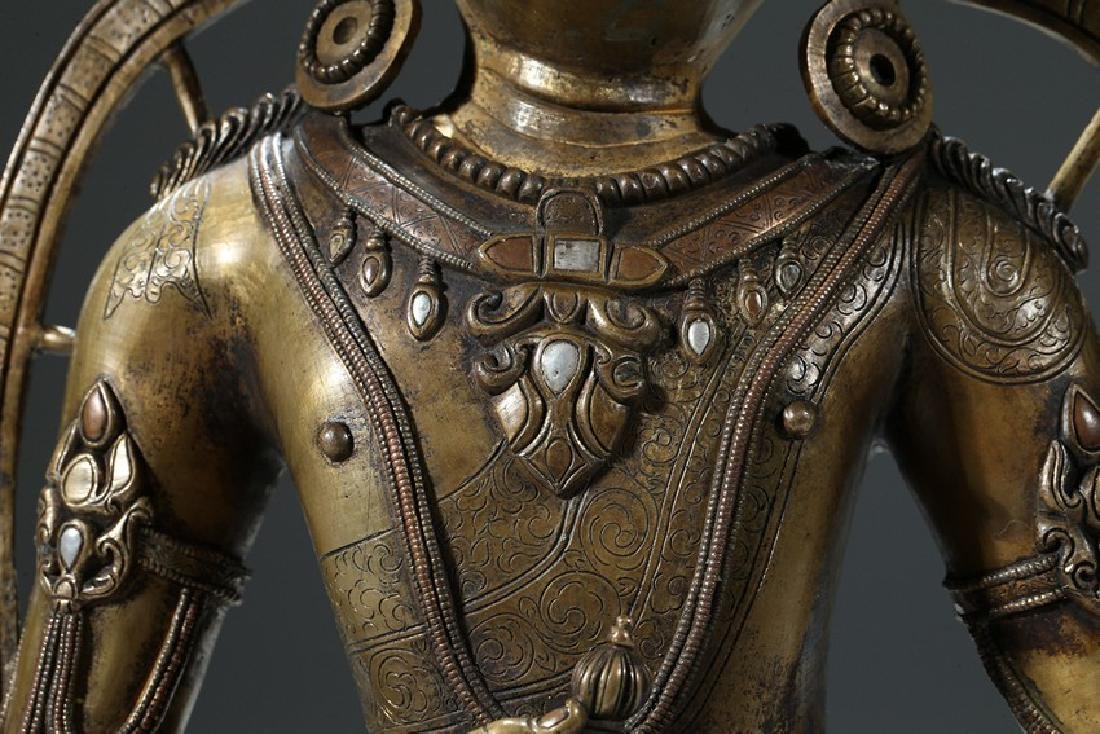 A COPPER AND SILVER INLAID COPPER ALLOY FIGURE OF - 7