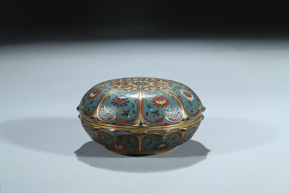A CHINESE CLOISONNE ENAMEL 'LOTUS' BOX AND COVER