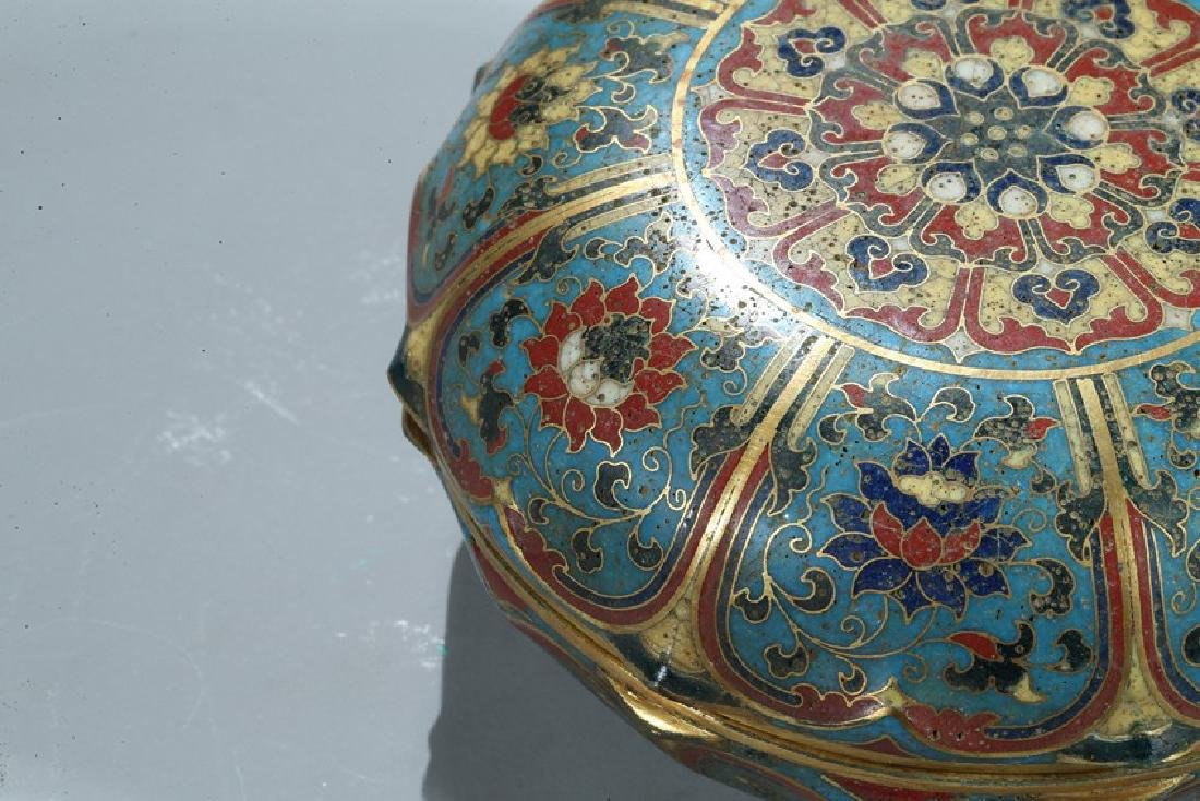 A CHINESE CLOISONNE ENAMEL 'LOTUS' BOX AND COVER - 7