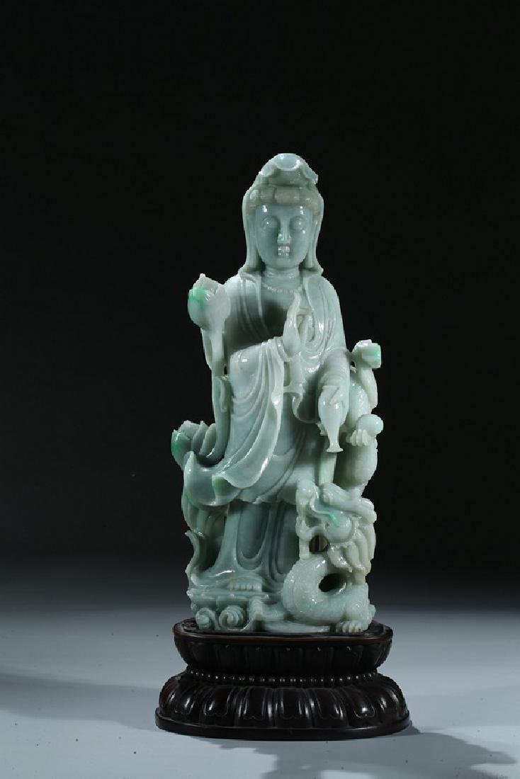 A JADEITE CARVED FIGURE OF GUANYIN AND DRAGON